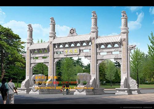 景区石雕山门和寺院石牌坊的修建作用是什么