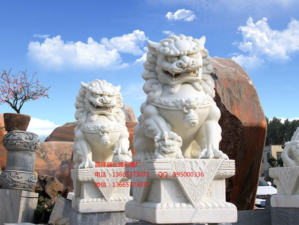 汉白玉石雕狮子效果图