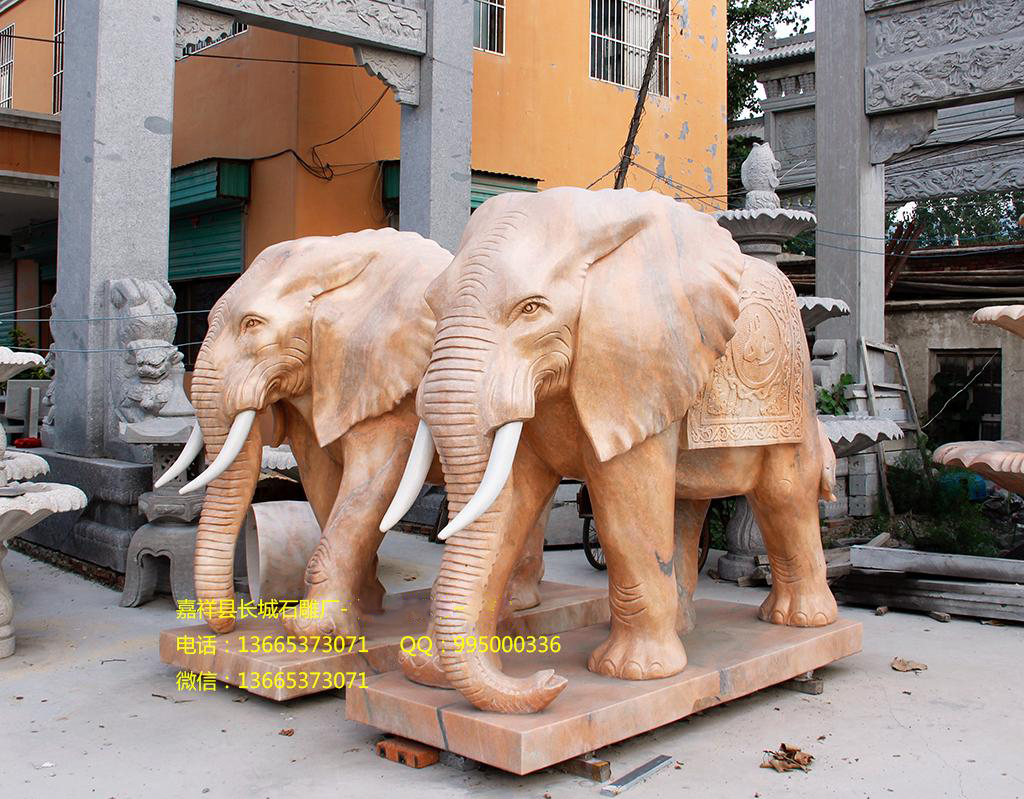 晚霞红石雕大象,招财大象雕刻图片