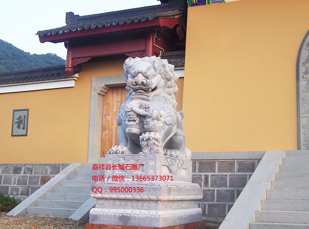 石狮子雕刻效果图,陵园石狮子
